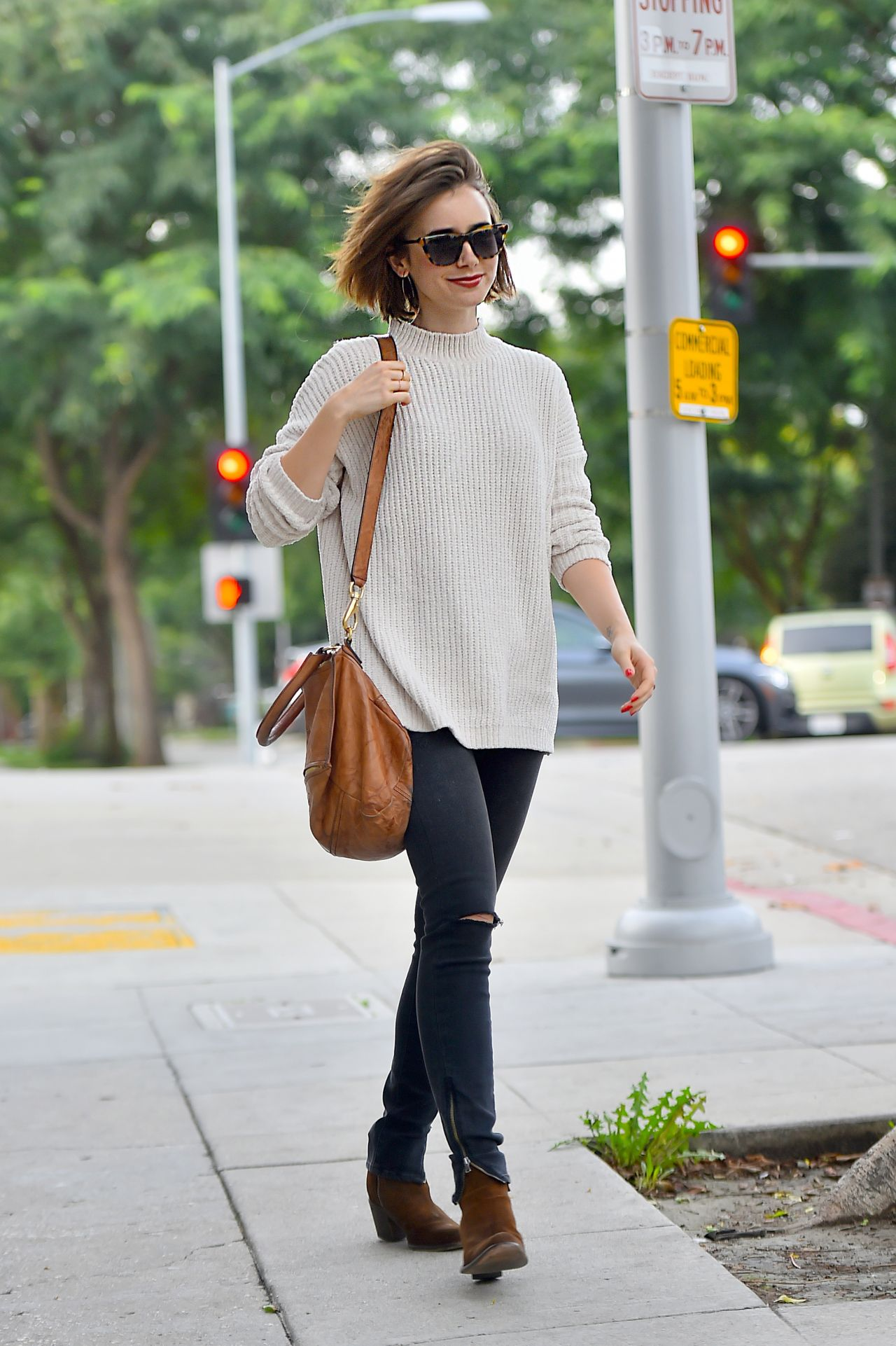 lily collins street style out in beverly hills december