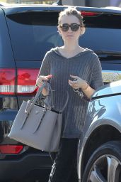 Lily Collins Style- Leaving Dry Cleaning in Los Angeles, December 2014