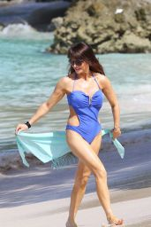 Lizzie Cundy in a Swimsuit on a Beach in Barbados - December 2014