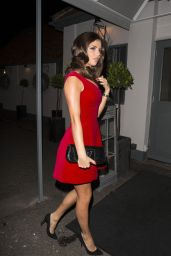 Lucy Mecklenburgh in a Red Dress - Out for Dinner in Essex, Dec. 2014
