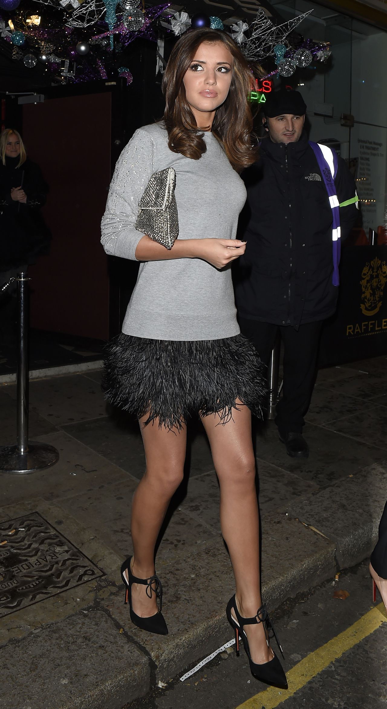 Lucy Mecklenburgh Night Out Style - Leaving Raffles Club in Chelsea - Dec. 2014