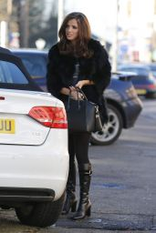 Lucy Mecklenburgh Style - Arriving at Her Boutique in Essex, Dec. 2014
