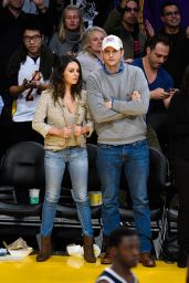 Mila Kunis and Ashton Kutcher - at the Lakers Game in LA - December 2014
