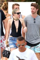 Miley Cyrus at a pool in Miami With Her Boyfriend - December 2014