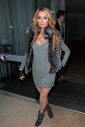 Paris Hilton Leggy in Mini Dress - Out in London, December 2014