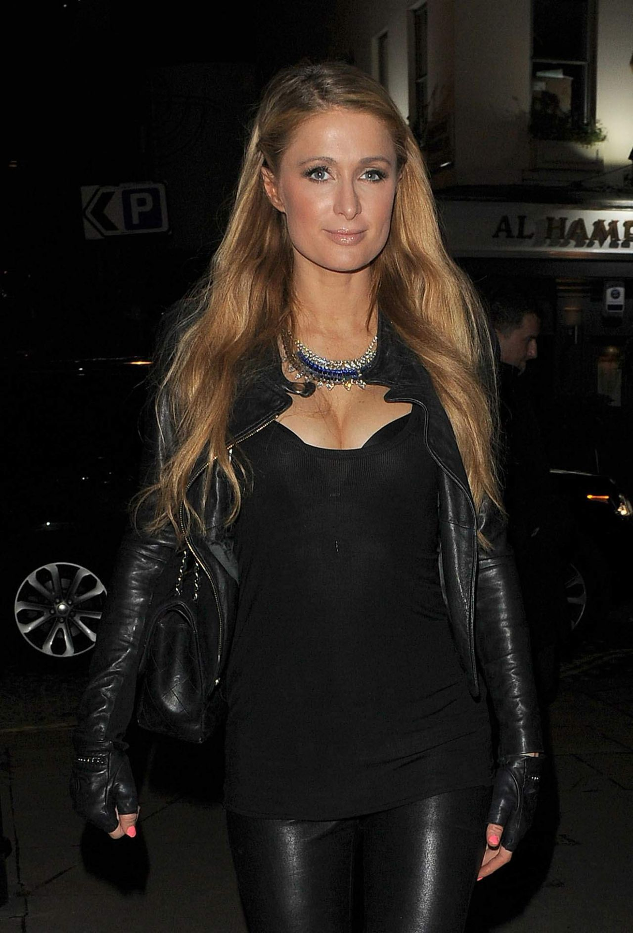 paris hilton night out style out in london december 2014. Black Bedroom Furniture Sets. Home Design Ideas