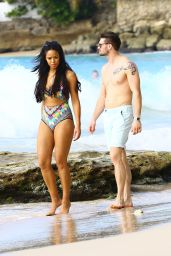 Sarah-Jane Crawford in a Swimsuit on a beach in Barbados - December 2014