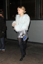 Sienna Miller Night Out Style - Groucho Club Arrival in London, December 2014