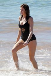 Stephanie Seymour in Black Swimsuit in Hawaii - December 2014