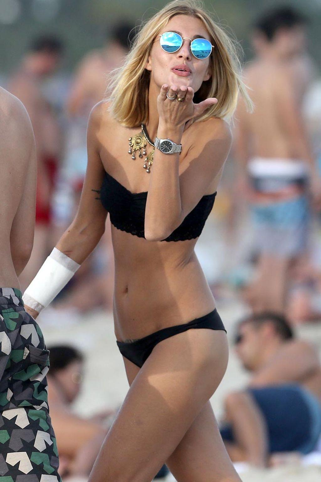 Sveva Alviti in Black Bikini On The Beach In Miami - December 2014