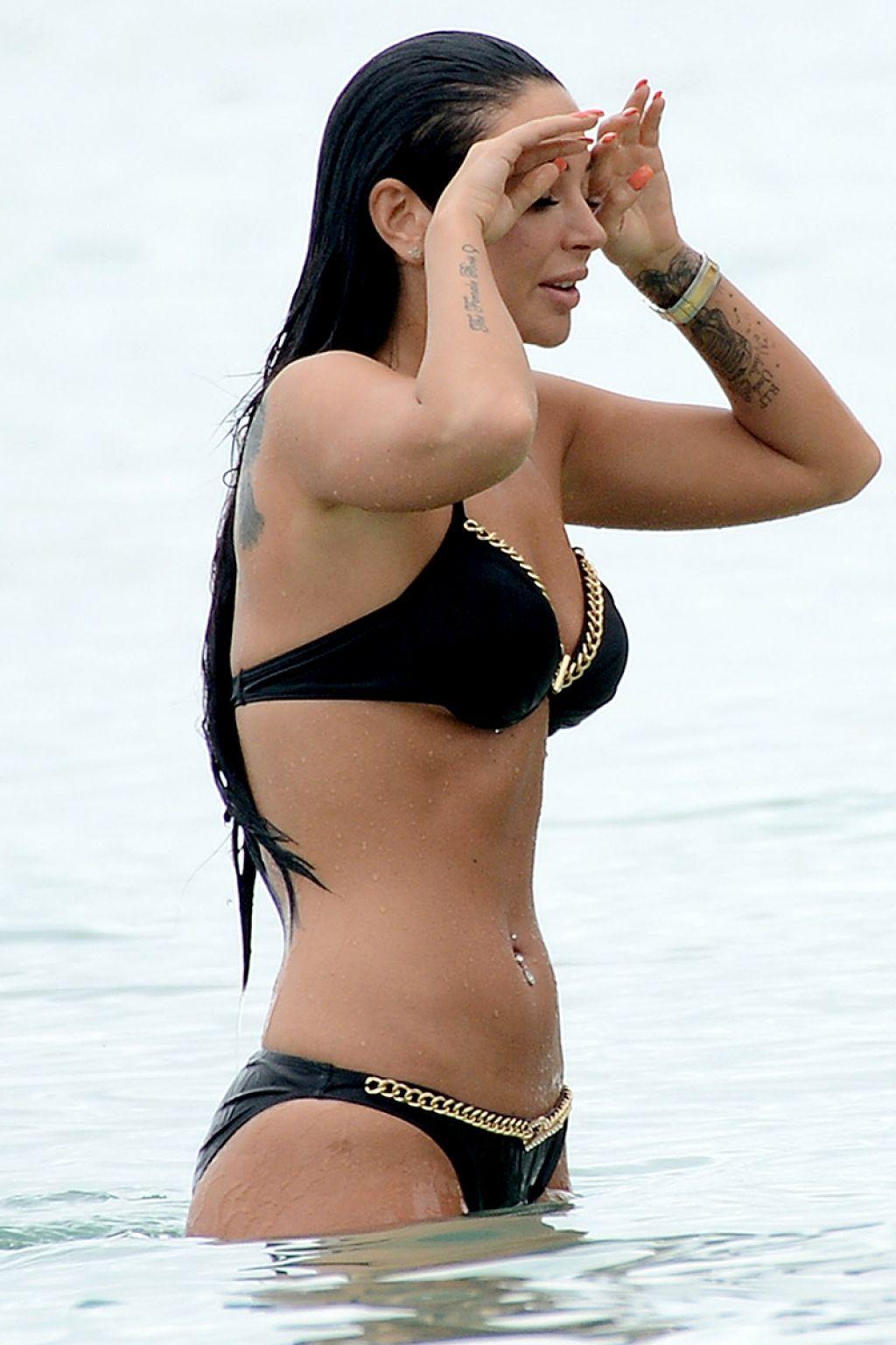 Tulisa Contostavlos in Black Bikini - Barbados, December 2014