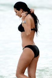 Tulisa Contostavlos in Black Bikini - Barbados, December 2014