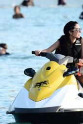 Tulisa Contostavlos - Jet-Skiing at the Beach in Barbados - December 2014