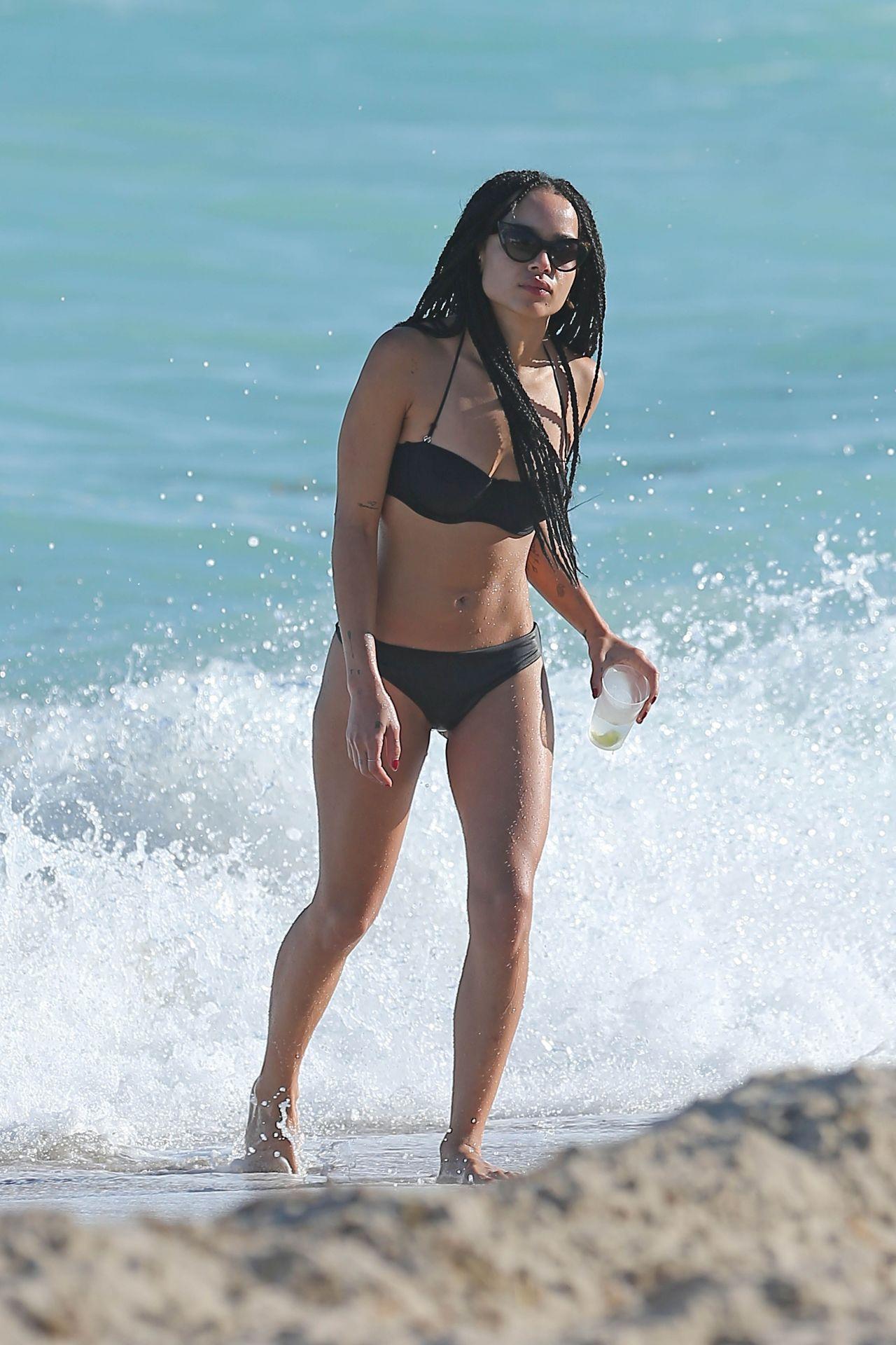 Zoe Kravitz Bikini Candids At Beach In Miami December 2014