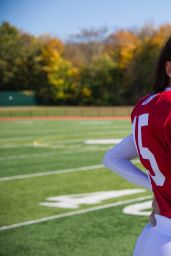 Adriana Lima in Football Pads Filming a Victoria