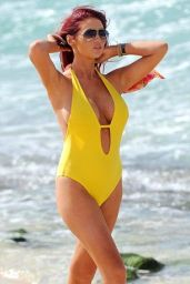 Amy Childs in Yellow Simsuit in Cape Verde, January 2015