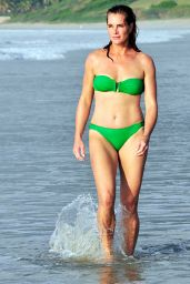 Brooke Shields in Green Bikini - Beach in Mexico, January 2015
