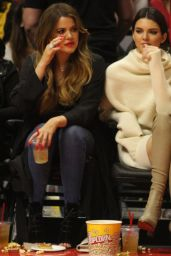 Cara Delevingne, Kendall Jenner and Khloe Kardashian at a Lakers Game in Los Angeles, Jan. 2015