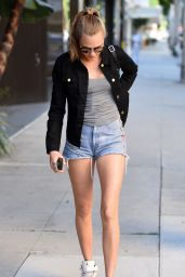 Cara Delevingne Showing Legs in Shorts in Beverly Hills - January 2015