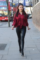 Chloe Goodman Wears Leather Pants - Out in London - January 2015