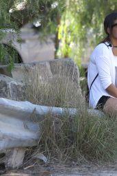 Christina Milian Booty in Shorts at Runyon Canyon Park in Los Angeles, Jan. 2015