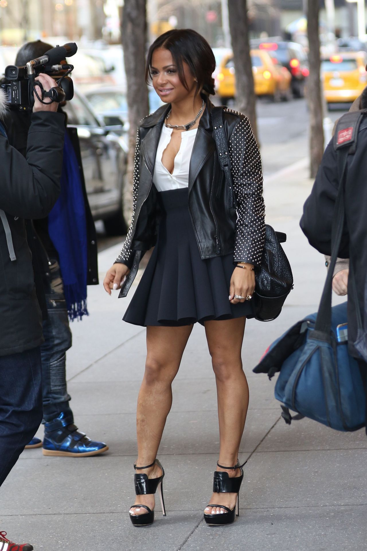 Christina Milian Shows Off Her Legs In Mini Skirt At Nbc