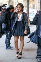 Christina Milian Shows Off Her Legs in Mini Skirt - at NBC Studios in New York, January 2015