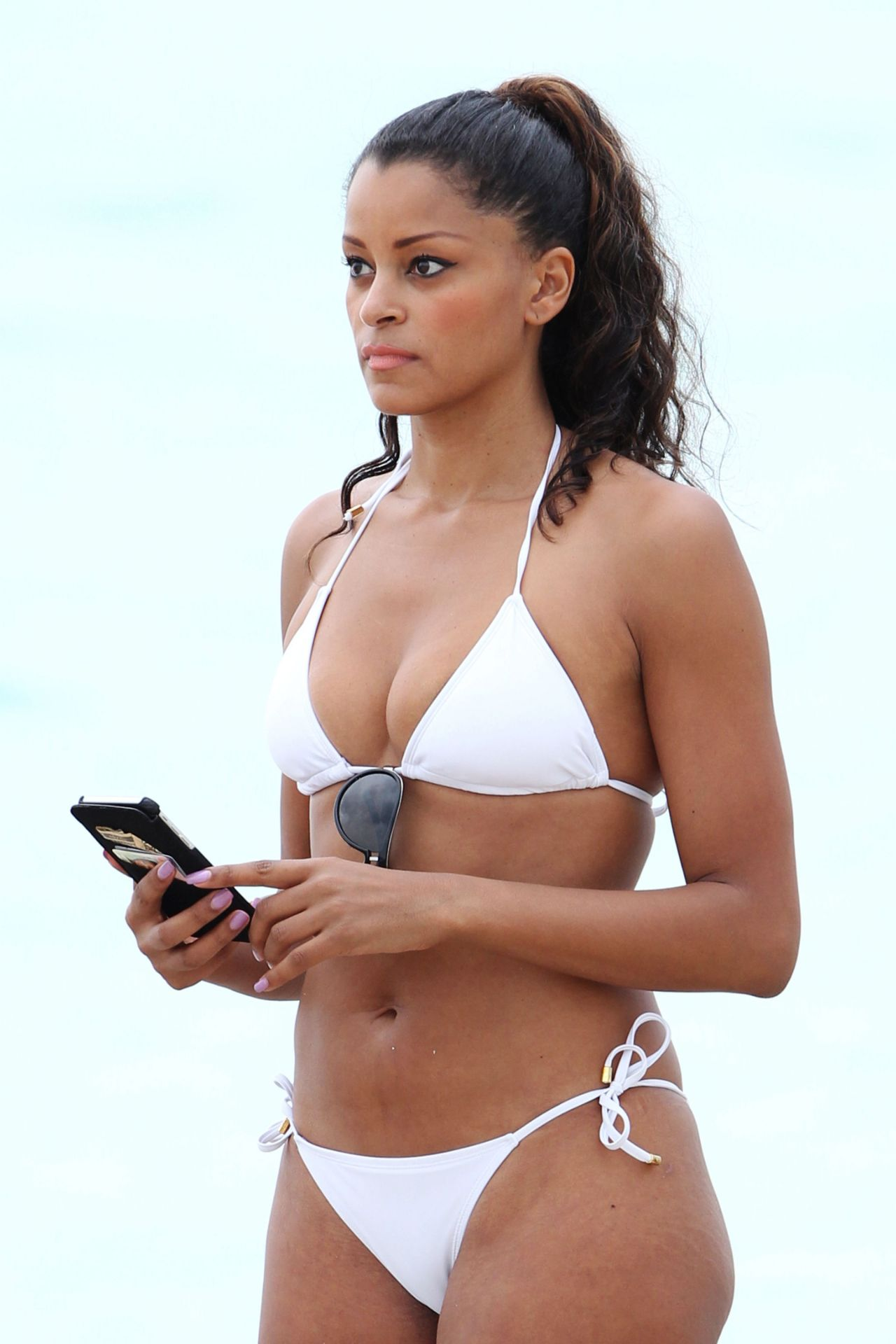 Claudia Jordan In White Bikini Beach In Miami Dec 2014