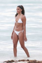 Claudia Jordan in White Bikini - Beach in Miami, Dec. 2014