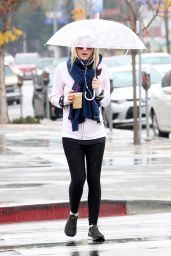 Dakota Fanning - Out in the Rain for an Iced Coffee in Studio City, January 2015