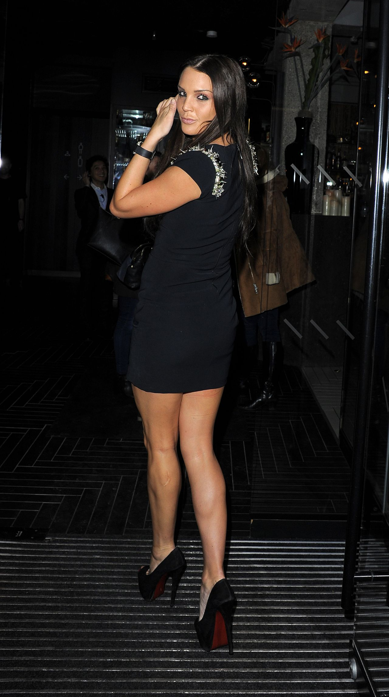 Danielle Lloyd Night Out Style - Arriving at a Restaurant in Soho in London, Jan. 2015