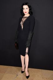 Dita von Teese Style - Elie Saab show in Paris - January 2015