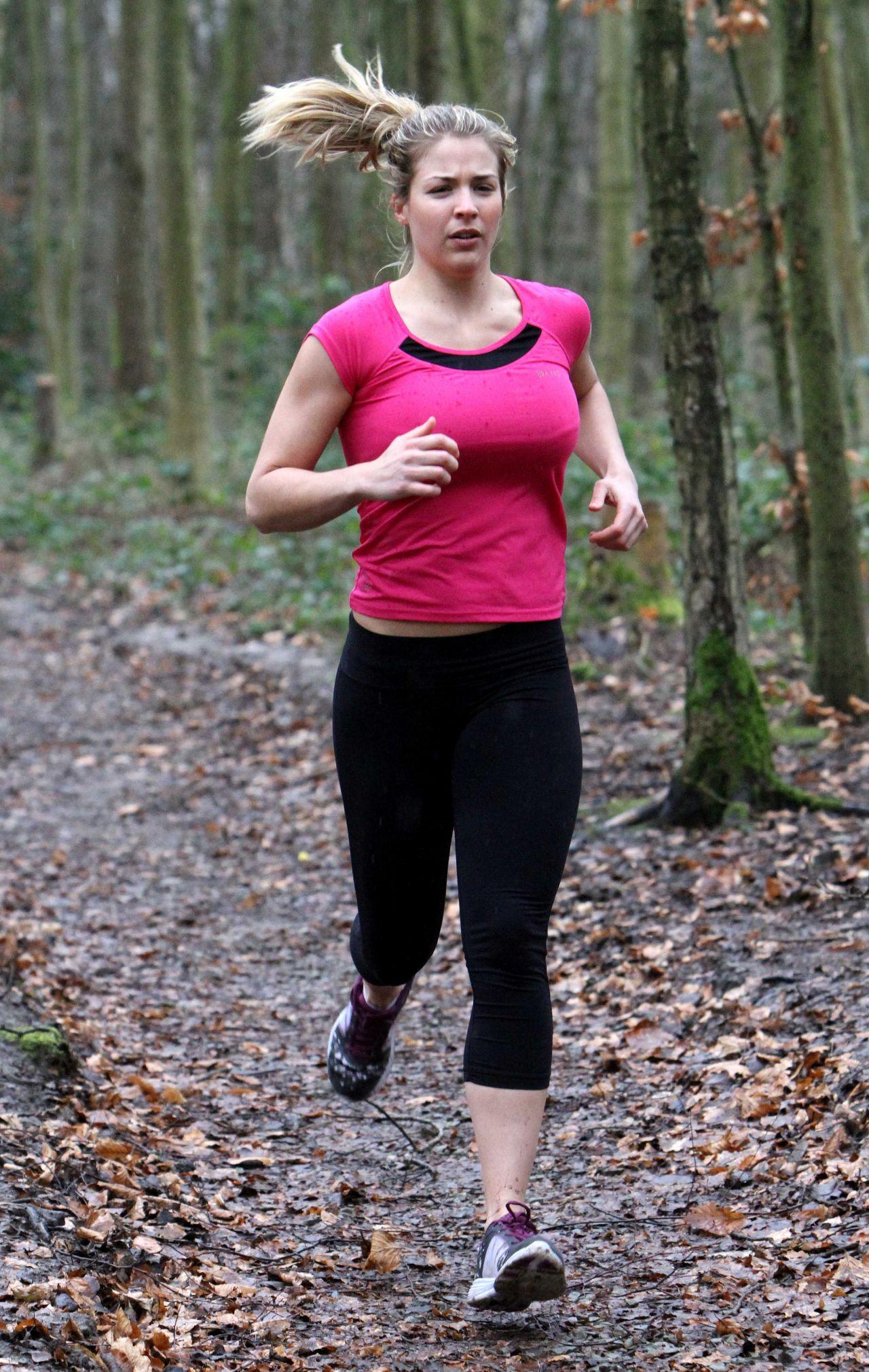 Gemma Atkinson Workout - Running in Forest Essex, January 2015