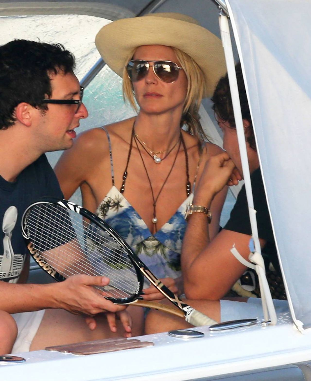 Heidi Klum On a Boat - Vacationing in St.Barts - January 2015