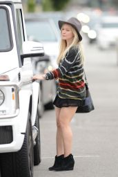 Hilary Duff Shows Off Her Legs in Mini Skirt - Out in Los Angeles, January 2015