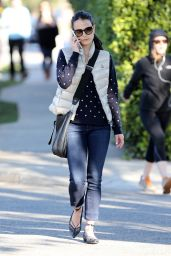 Jordana Brewster Style - Out in Brentwood, January 2015