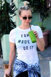 Kaley Cuoco Leggy in Shorts - Out in Studio City, January 2015