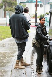 Kim Kardashian - Out with Kanye & North in Brentwood, January 2015
