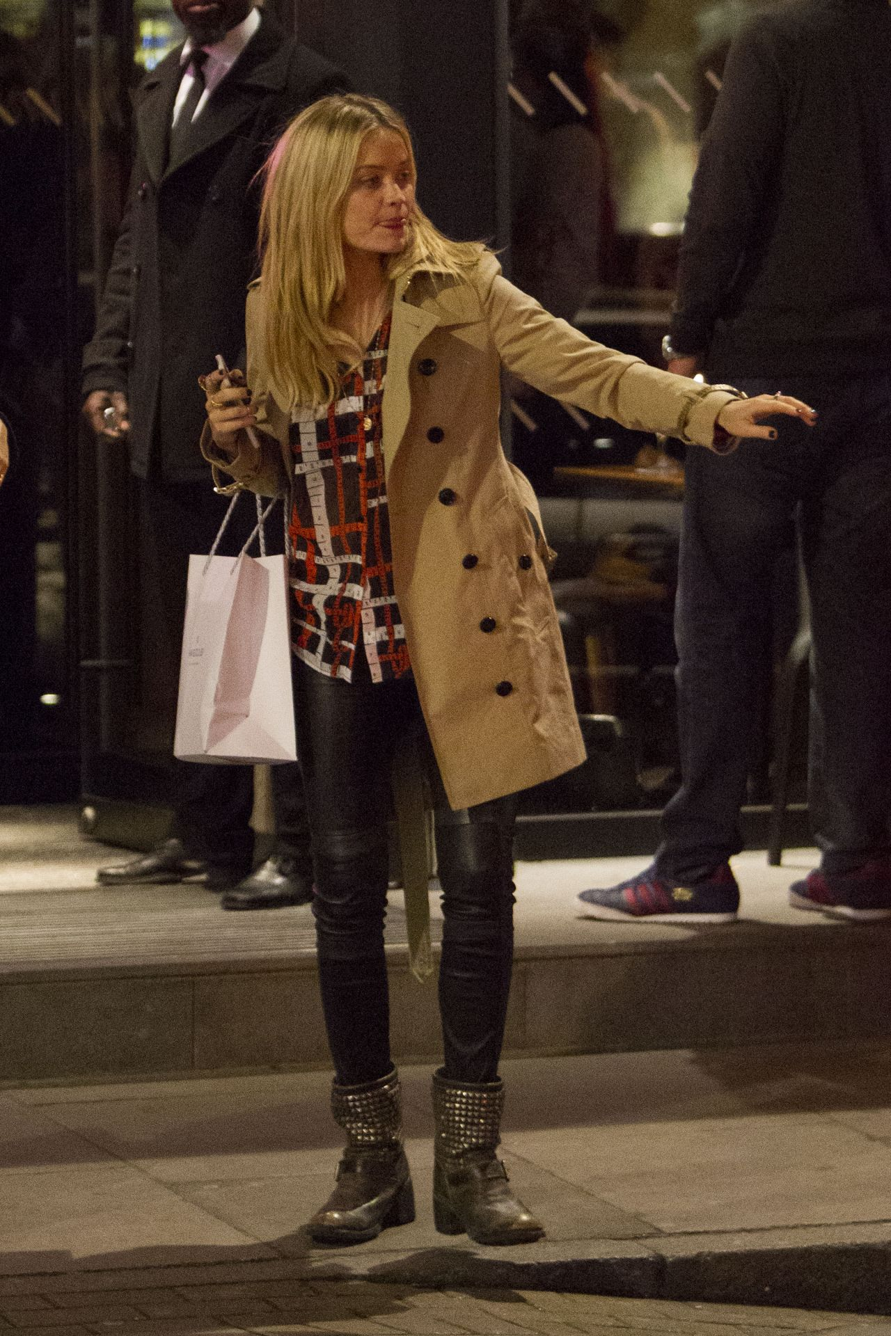 Laura Whitmore Style - Night Out in London, January 2015