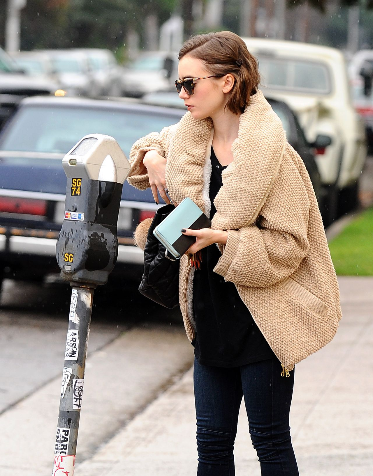 Lily collins street style out in la