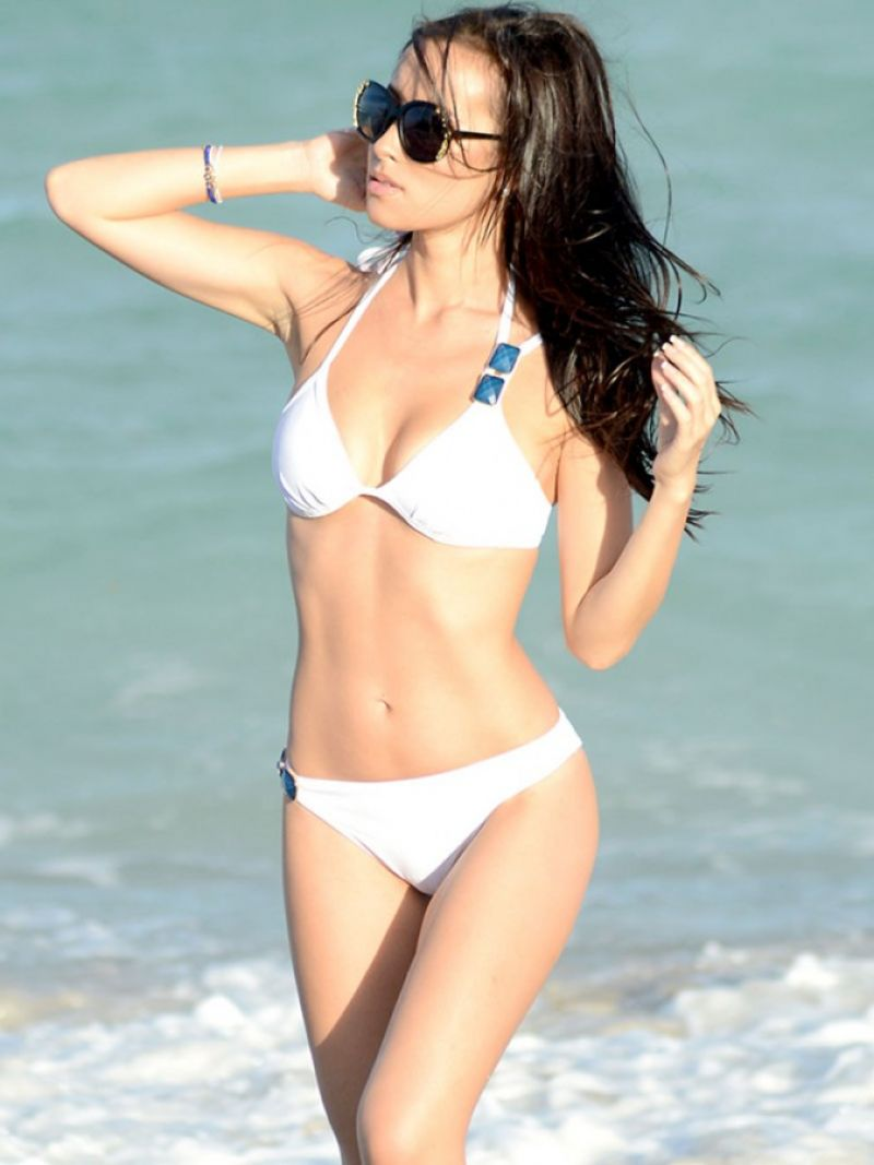 Lisa Opie in a White BIkini - Beach in Miami, January 2015