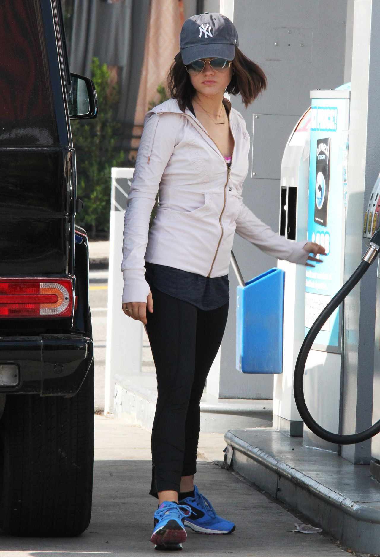Lucy Hale - Coffee Shop & Gas Station in Hollywood, Jan. 2015