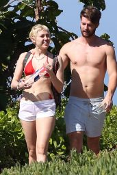 Miley Cyrus in Bikini Top in Hawaii, January 2015