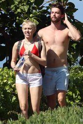Miley Cyrus in Bikini Top in Hawaii, January 2015