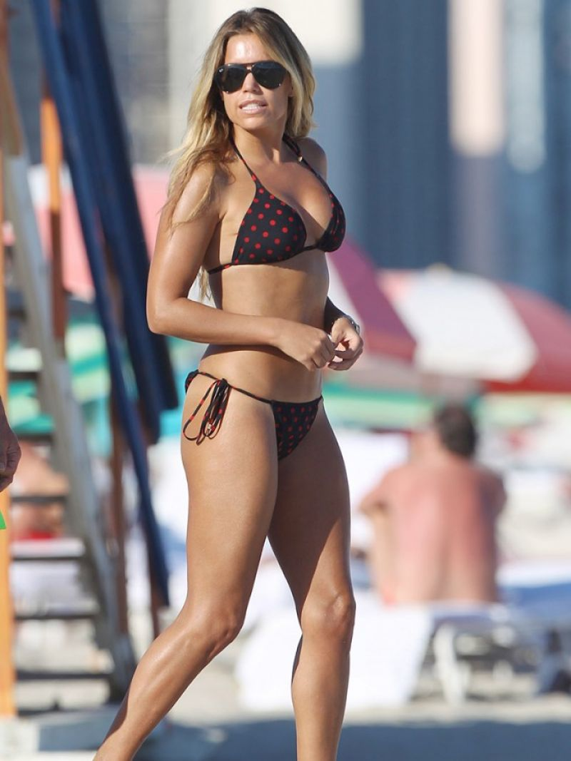 Sylvie Meis Wears a Polka Dot Bikini - On Vacation In Miami, January 2015