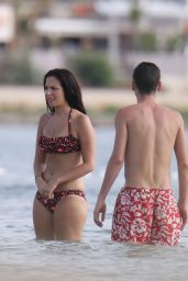 Tulisa Contostavlos Bikini Candids, on a Beach in Ibizia, January 2015