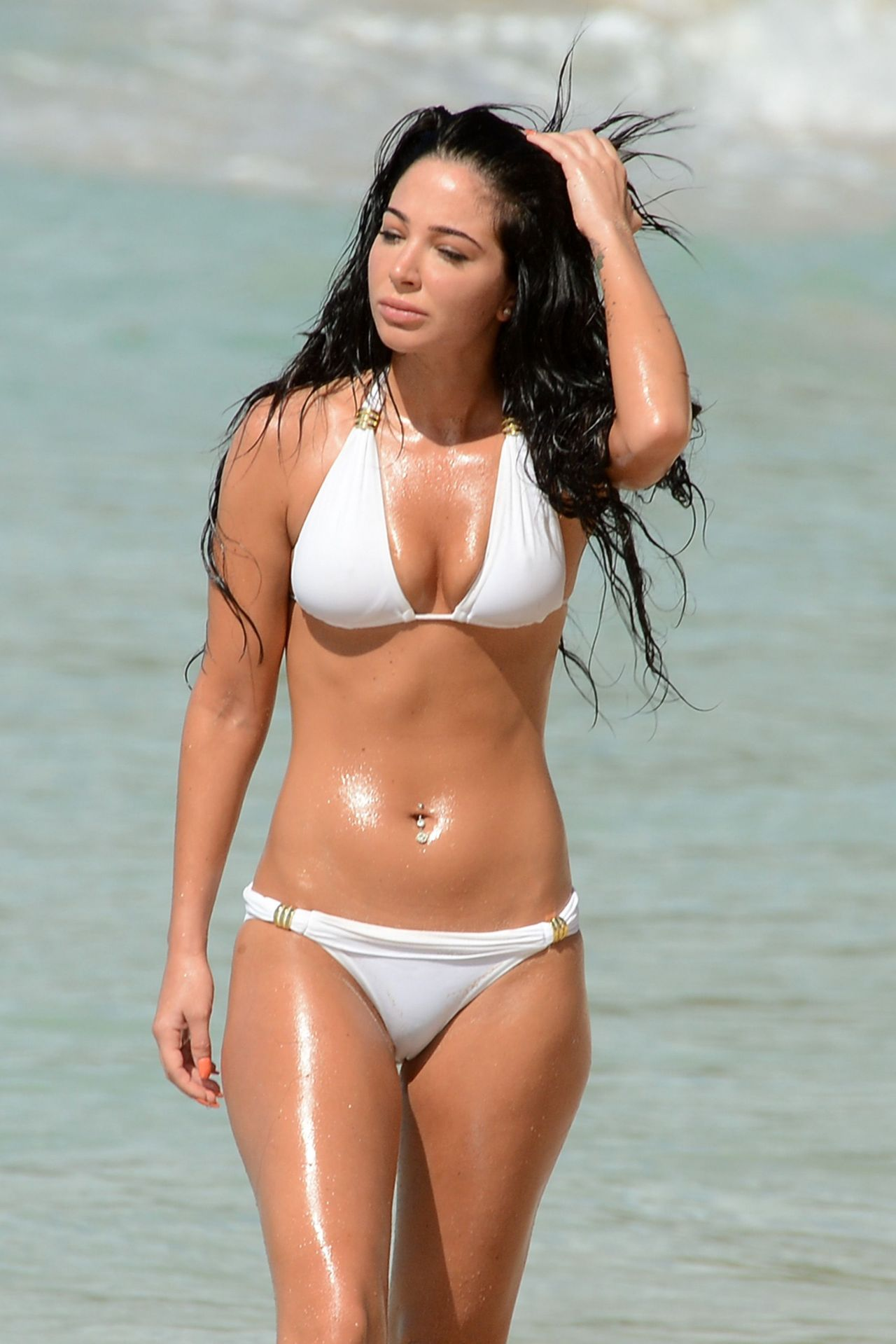 Tulisa Contostavlos in White Bikini - Barbados, December 2014