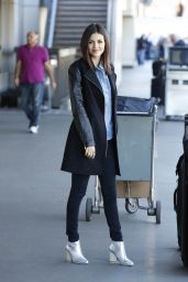 Victoria Justice Casual Style - at LAX Airport, January 2015