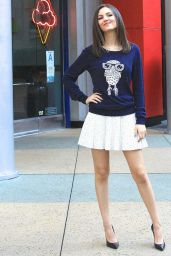 Victoria Justice Leggy in Mini Skirt - Visits