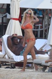 Victoria Silvstedt in Orange Bikini - St Barths, January 2015